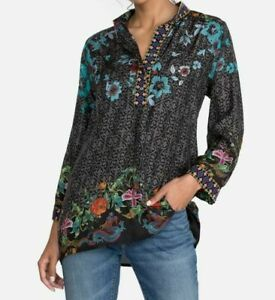 💕$240 JOHNNY WAS KENNEDY SILK TUNIC SZ XL BEAUTIFUL COLORS & EMBROIDERY NEW 🌺