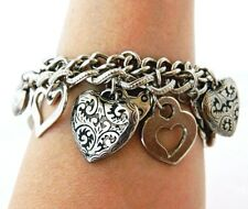 "Love Heart Charm Bangle Bracelet Curb Chain Link Boho Costume Jewelry Gift 8"""