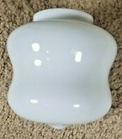 "Vintage White Glass Enclosed Lamp Shade Globe 6"" Curvy Hourglass W/rounded Tip"