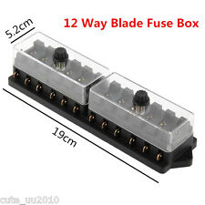 Universal Car Truck Boat 12 Way 12V Standard Blade Block Fuse Box Holder Circuit