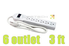 New 6 Outlet Power Strip Bar Surge Protector Protect Electronics Circuit Breaker