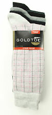 NEW GOLD TOE FASHION 4 PAIRS TATTERSALL PLAID COTTON BLEND DRESS SOCKS 10-13