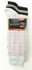 NEW GOLD TOE FASHION 4 PAIRS TATTERSALL PLAID COTTON BLEND DRESS SOCKS 10-13