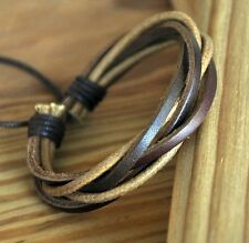 Surfer Multi Band Leather Hemp Braided Bracelet Wristband Bangle Unisex #S4