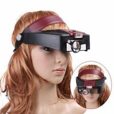 10X Lighted Magnifying Glass Headset Head Magnifier Adjustable Headband