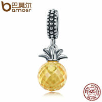 Bamoer Classic 925 Sterling Silver Charm love of pineapple Dangle For Bracelet