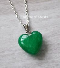 925 Silver Necklace & 16mm Jade Heart Pendant Reiki Healing Ladies Gift Gemstone