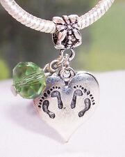 Twins Footprint Heart August Birthstone Dangle Bead for European Charm Bracelet