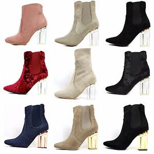 Round Toe Velvet Suede Clear Perspex Lucite Heel Ankle Women's Dress Boot Bootie