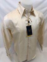 Mens MANZINI Button Up Dress Shirt CREAM ELEGANT PAISLEY SHINNY FRENCH CUFF 314