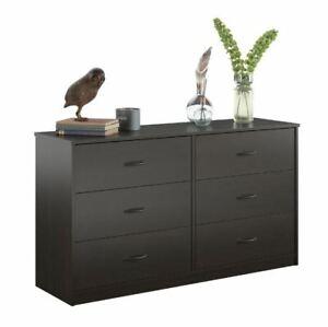 6 Drawer Dresser Furniture Bedroom Organizer Chest of Drawers, Espresso Finish
