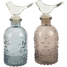 Decorative Glass Bird Bottle (Pink or Blue) by Transomnia