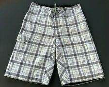 Gotcha Swimming Trunks Board Shorts Plaid Men's Size M White Surfing Shorts