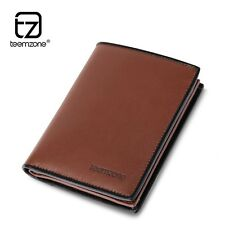 Men Tanned Leather Slim Military Wallet Bifold Billfold ID Money Checkbook Gifts