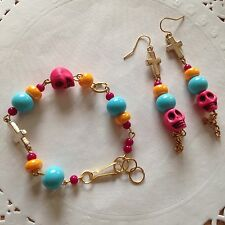 Day Of The Dead Muertos Cross Mexican Skull Coral multicolor earrings Bracalet