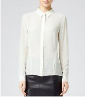 Reiss Womens Shirt Sphynx Long Sleeve Detail Silk Cream 14uk RRP £125