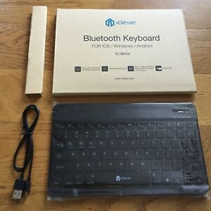 NEW iClever Backlit Lit Bluetooth Keyboard For IOS Windows Android IC-BK04 Black