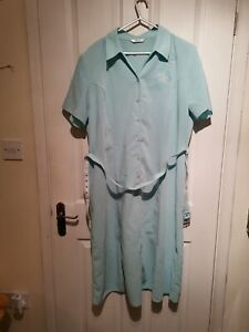 Size 20 Vintage Turquoise Blue Embroidered Berkertex Mid Length 1980s Dress