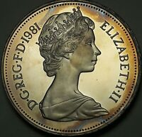 1981 Great Britain Ten New Pence BU BRIGHT UNIQUE COLOR TONED GEM UNC (SS)
