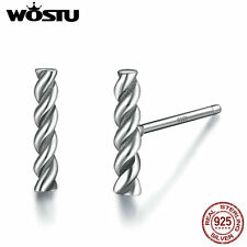 Wostu New Authentic S925 Sterling Silver Stud twist Earrings Retro Jewelry Women