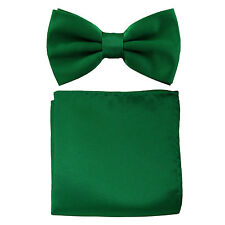 New formal men's pre tied Bow tie & Pocket Square Hankie solid emerald green