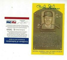 Bob Gibson Autographed HOF Plaque Postcard St Louis Cardinals Baseball PSA COA