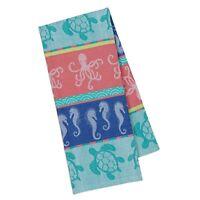 Design Imports CARIBBEAN Jacquard  Kitchen Tea Towel Seahorses Turtles Octopus