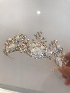 Gold AB Crystal Tiara With Ceramic Roses . Rose Gold Tiara .5 Cms Tall
