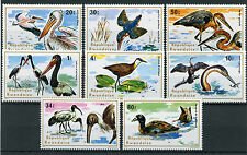Rwanda 1975 MNH Aquatic Birds 8v Set Pelicans Ducks Kingfishers Herons Stamps