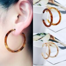 1 Pair Women Resin Acrylic Tortoise Shell Thick Round Circle Hoop Drop Earrings