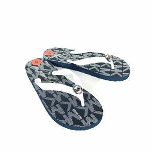 Michael Kors Flip Flops Women's 6 Blue White MK Signature PVC Silver Logo