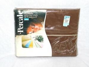 Vintage Montgomery Ward Dark Brown Twin Flat Sheet NEW Percale NIP Cotton Poly