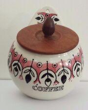 1950s Swedish Jie Gandofta Pottery Wall Mounted Coffee Pot Canister & Teak Lid