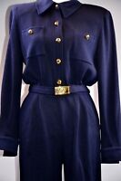 St John Collection Women's Jumpsuit Sz 6 Navy Gold Buttons Trim Belt $750 Retail