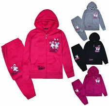 Girls Tracksuit New Kids Hoodie And Joggers Slogan Set 2PSC Ages 2 - 10 Years