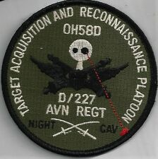 US ARMY D/227TH AVN REGT PATCH -    WITH HOOK AND LOOP BACK'                DUTY