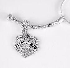 Pit bull Mom key chain Pit Bull Gift Bangle Pit Bull Jewelry Dog charm Bracelet
