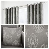 Curtina HELSINKI Graphite Grey Ready Made Eyelet Curtains & Cushions