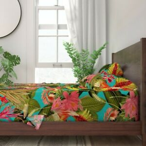 Tropical Floral Palm Leaves Luxe 100% Cotton Sateen Sheet Set by Roostery