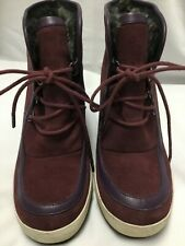 United Nude - Womens Anklel Wedge Boots burgundy leather purple trim size 8