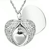 Heart with Zircon Stones Cremation Memorial Ash Urn Pendant Keepsake Necklace