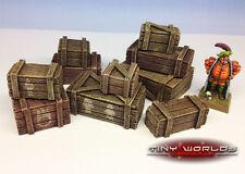 28 mm Resina Cajas Set - 10 Piezas-Wargames Paisaje Warhammer Cajas De Madera