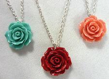 Impresionante! Clásico Flor Rosa Charm 20mm Colgante Plateado Collar De Cadena