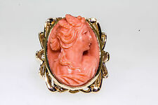 Antique 1940s 25ct High Relief CORAL Gem CAMEO 10k Yellow Gold Ring