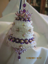 Hand Beaded Purple,White & Gold Bell Ornaments...sets of 2
