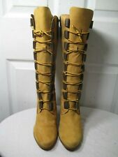 TIMBERLAND Tan Leather Knee High Lace Up Combat Heel Boots Shoes Size 10 M.