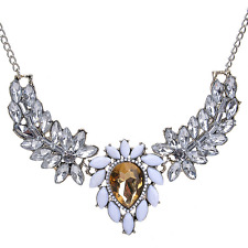 Charm Women Rhinestone Resin Wings Pendant Choker Bib Statement Necklace Jewelry
