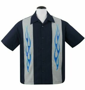 Steady Clothing Flame n Hot Navy Rockabilly Bowling Button Down Shirt ST35324
