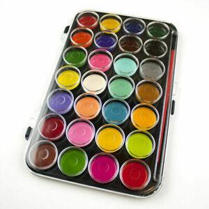 Large 28 Watercolour Paint Block Set & Brush Palette In Case Artist Art/Craft