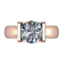Solitaire 3.30 Ct Diamond BIS 14K Rose Gold Engagement Rings Wedding Band Size N